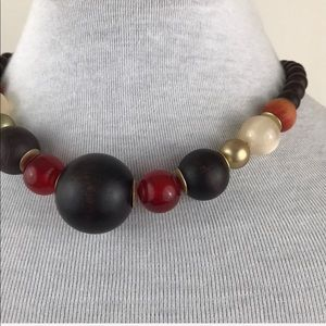 Vintage Gold Brown Beaded Choker Necklace